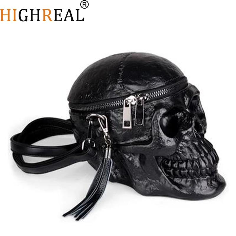 حقيبة نسائية عالية الأصالة بشكل مضحك هيكل عظمي راس أسود يدوي حزمة واحدة مصمم الازياء حقيبة حزمة حقائب الجمجمة