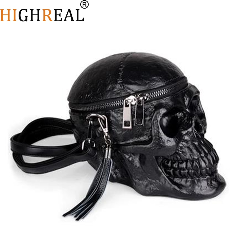 HIGHREAL Originality Women Bag Funny Skeleton Head Black handbad Single Package Fashion Designer Satchel Package Skull Bags