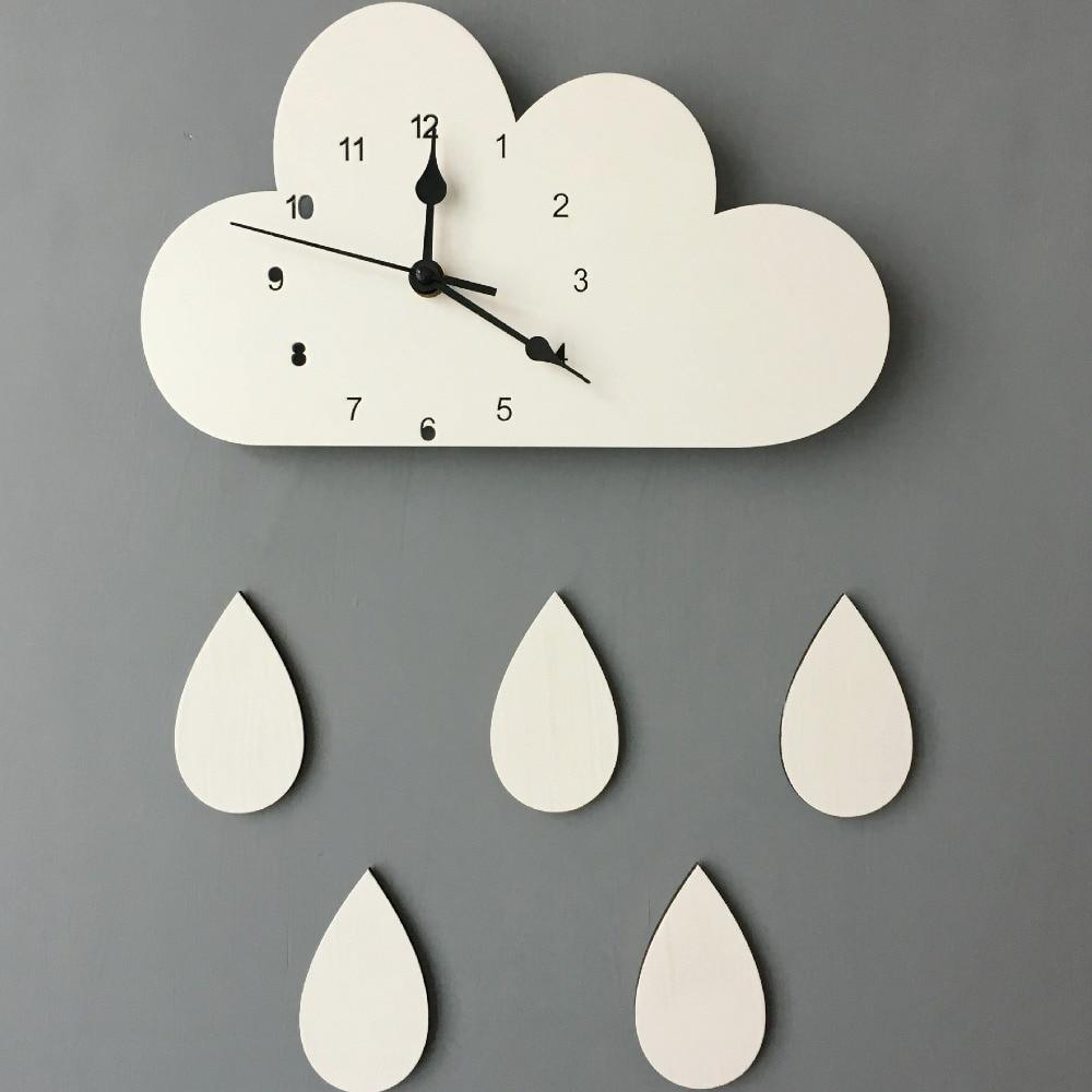 Reloj de pared nórdico de 28x16 CM con forma de nube de madera en forma de gota para decoración de habitación de niños, reloj de pared Neutral para Género de bebé, regalo para bebé, 1 pieza
