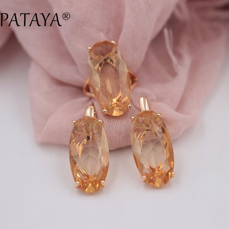 Набор ювелирных изделий PATAYA, большие серьги из розового золота 585 пробы с овальным искусственным кубическим цирконием, комплект винтажных ю...