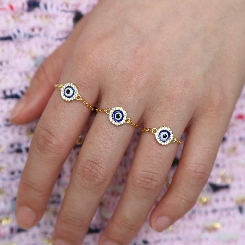 Anillo de cadena con abalorio de ojo malvado turco esmaltado de bluel de disco redondo, joyería para Dedo de moda barata al por mayor
