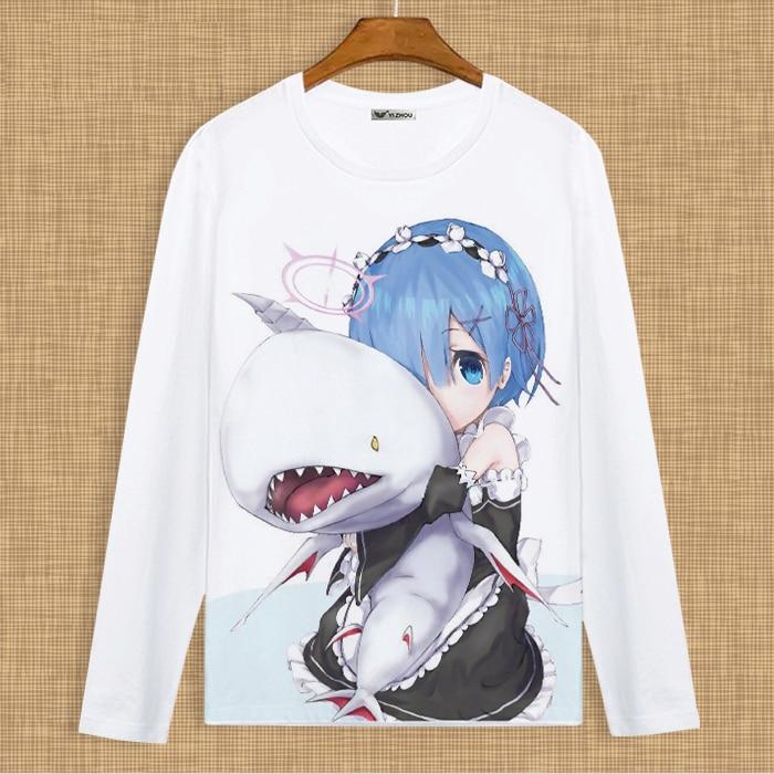 Anime japonés Re: la vida en un mundo diferente de zero camiseta personaje encantador REM camiseta L011