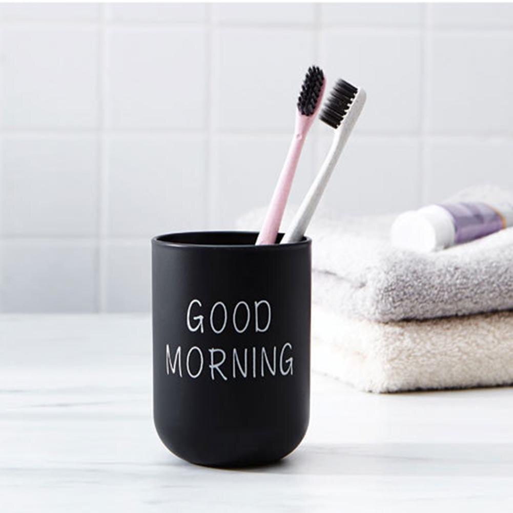Buenos días Simple nórdicos portátil de viaje copa de lavado de plástico titular de cepillo de dientes de almacenamiento de cepillos de dientes organizador de la Copa