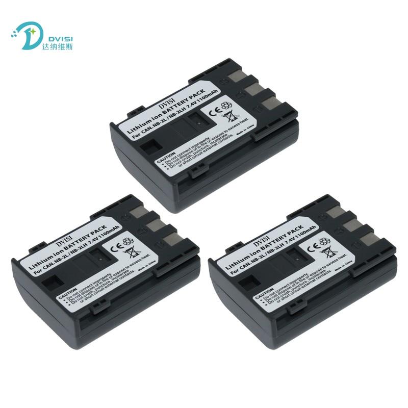 DVISI 3 unids/lote NB-2L NB2L NB-2LH Cámara batería para Canon G9 Rebel XTi G7 HV-20 ZR-850 S30 HV-40 350D 400D G7 G9 S30 S40 z1