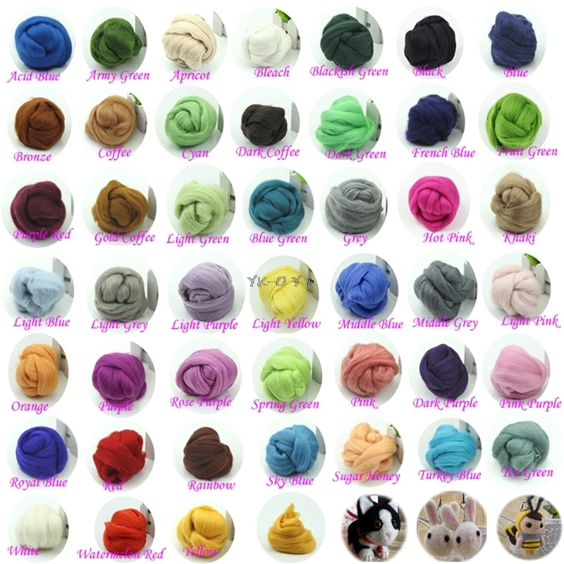 Fibra de fieltro de lana, 20 colores