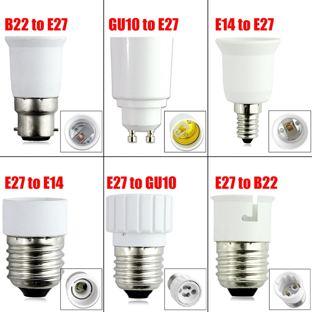 TSLEEN 1Pcs New Fireproof Material GU10 E27 E14 B22 lamp Holder Converter Socket Conversion light Bulb Base type Adapter