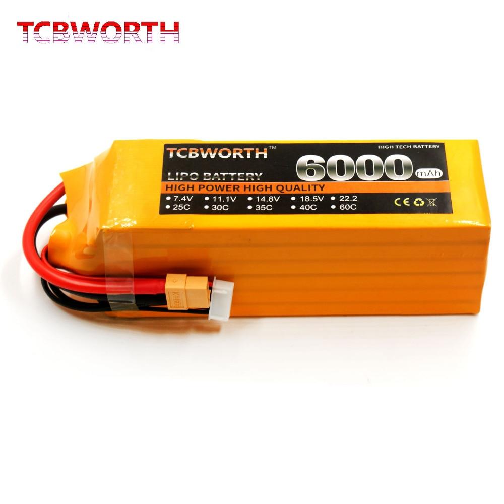Bateria 6 s 22.2 v 6000 mah 60c do zangão de tcbworth rc lipo para o carro máximo 120c do quadrotor do helicóptero do avião bateria 6 s akku 6000 mah