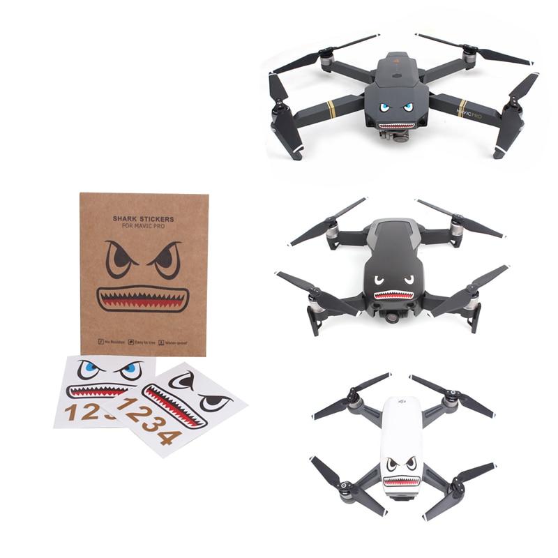 Для DJI Mavic Air 2 /Mavic 2/MINI/Pro/Spark аксессуары для дрона наклейка в виде акулы для дрона для тела каркаса самолета Наклейки для лица