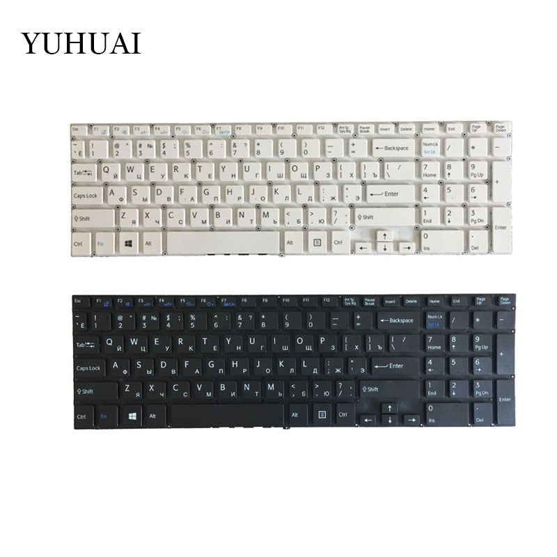 Ruso RU teclado para Sony VAIO SVF152C29V SVF153A1QT SVF15A100C SVF152100C SVF1521Q1RW blanco negro teclado del ordenador portátil