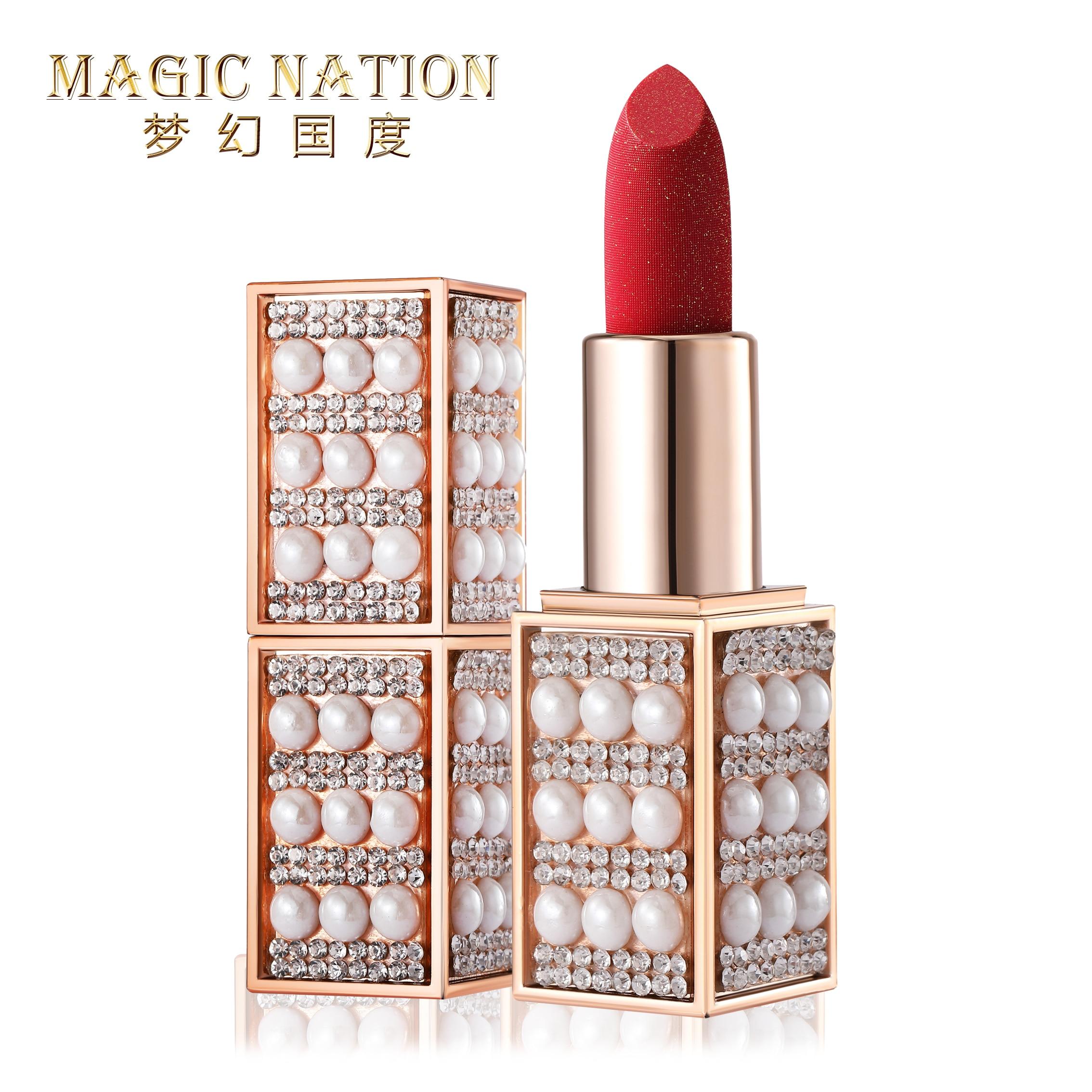 Magic Nation Beauty Pearl Starry Diamond Lipstick Matte Long-lasting Waterproof Nude Velvet Lipstick and Magic Green Lip Batom