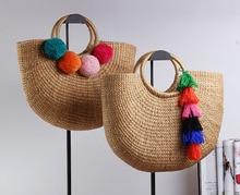 37x26CM Handmade Yellow grass Woven with pompom tassels  Ladies Beach Straw Bag Circular  Moon shaped  Bag A2925