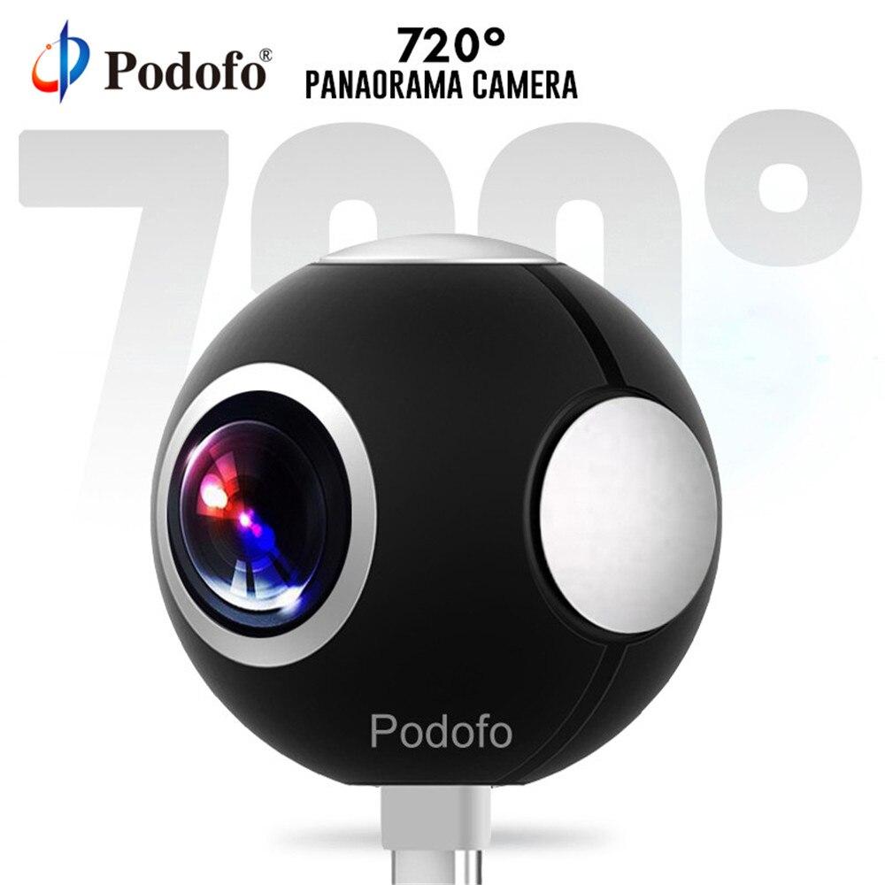 Podofo Mini HD panorámica 360 Cámara gran ángulo Dual Lente ojo de pez VR cámara de vídeo para Smartphone tipo-c USB deporte y acción Cam