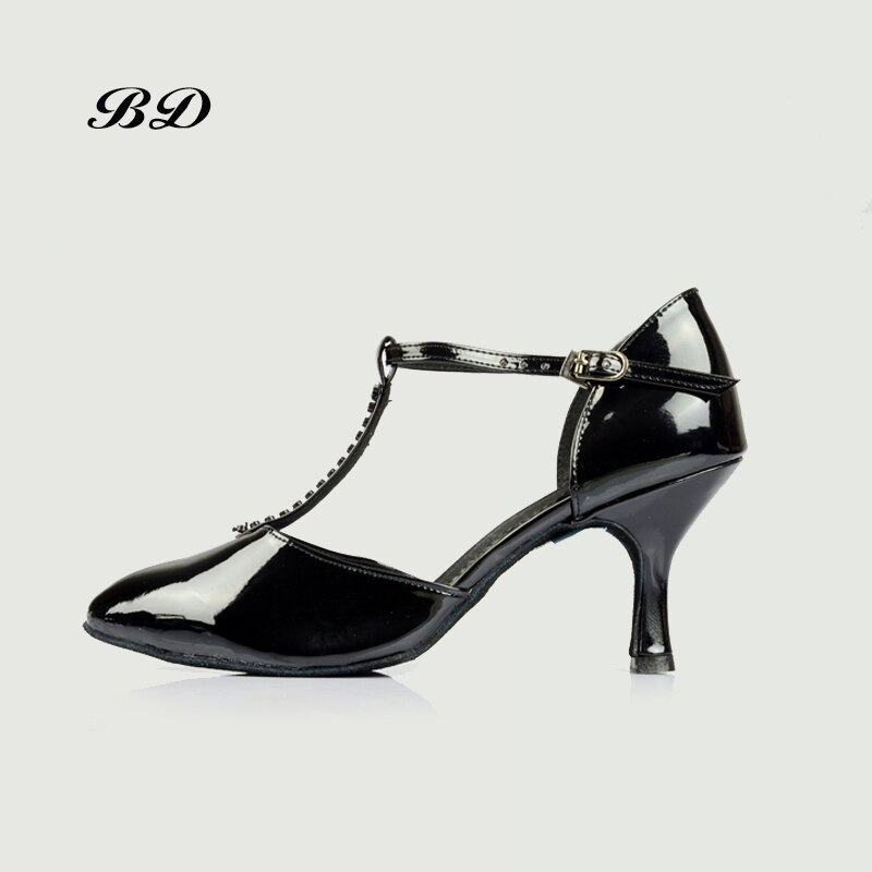 Zapatos de baile de salón para mujer, zapatos latinos para mujer, estudiante BD 225 auténtico, fábrica Lombar directa, haz de zapatos de perforación negra