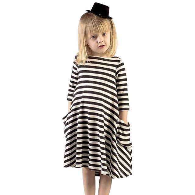 Nueva ropa de niñas 100% algodón a rayas niños vestido casual otoño niños vestidos niñas 2-7 años