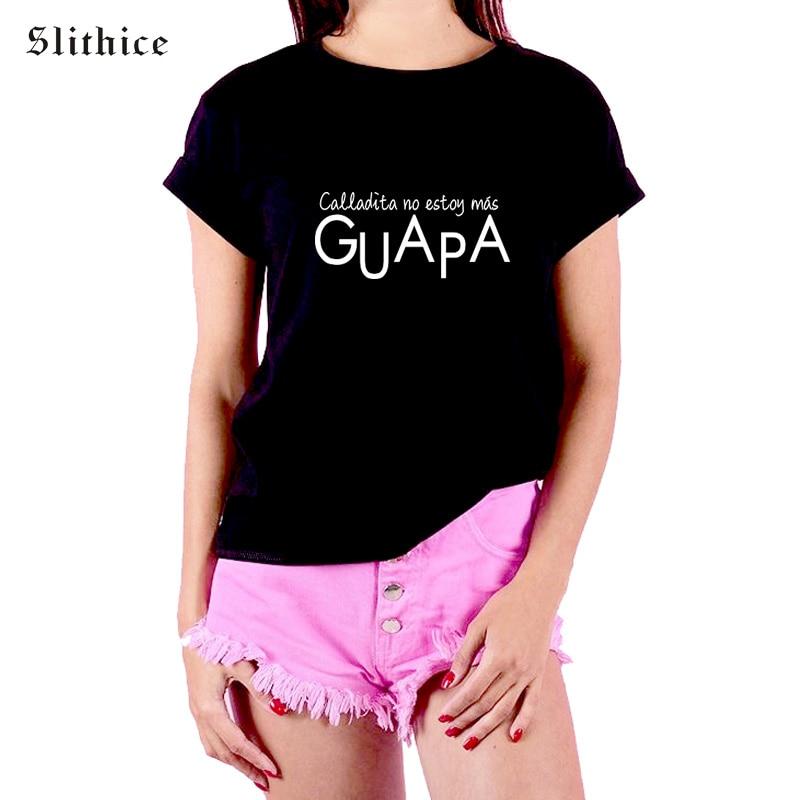 Slithice Fashion Summer T-shirt Women shirts tops Casual short sleeve Spanish Letter Printed Cotton harajuku female t-shirt