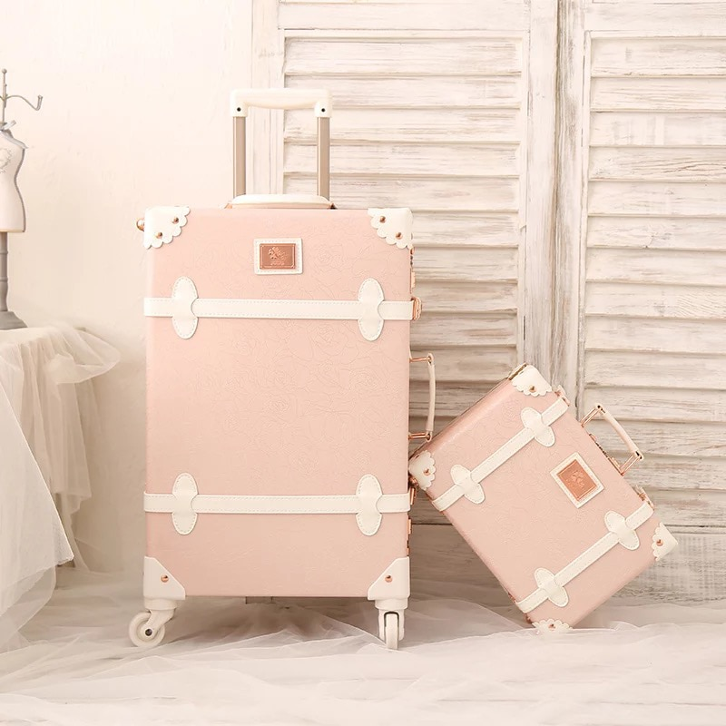 Juego Retro de moda hecho a mano, bolso de maquillaje enrollable para equipaje, bolso para mujer, spinner rosa, Maleta de viaje con ruedas, caja con estuche para cosméticos