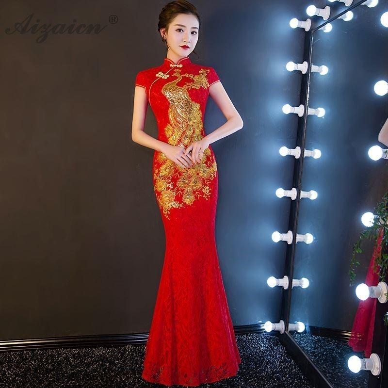 Cheongsam-Vestido largo de noche para mujer, moderno, moderno, largo, Qi, tradicional, de boda