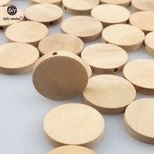 Lassen sie machen Natürliche Flache Holz Runde perlen 100 stücke 20mm unfinished DIY holz chips Kreise Holz Tags Etiketten baby Beißring