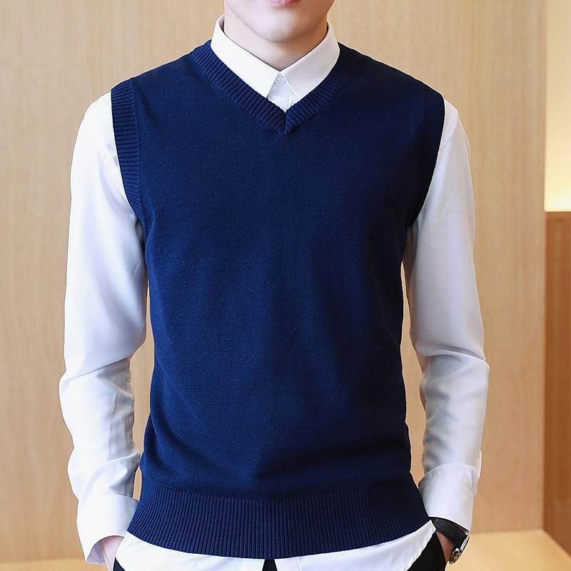 Мужской свитер из 100% хлопка LUX ANGNER, повседневный трикотажный пуловер без рукавов с V-образным вырезом, M-3XL