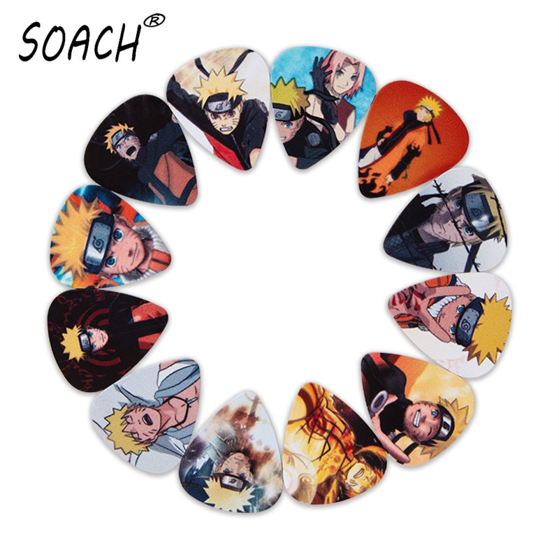 SOACH 10pcs 3 kinds of thickness new guitar picks bass Japanese anime Uzumaki Naruto pictures qualit