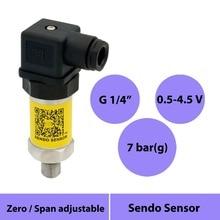 0.5-4.5v pressure sensor transmitter 0 to 700kpa, vented gauge sensor 0 to 7bar, 0 to 0.7mpa, 5 v power, g1 4 process connection
