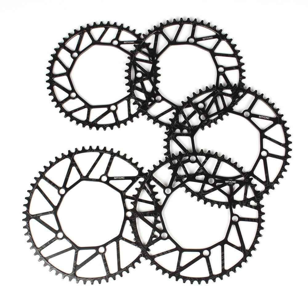 Bike Crankwheel Crankset Bicycle Hollow Chainring Single Crank Wheel Folding BCD 130MM 5 Holes Crankset 50T/52T/54T/56T/58T