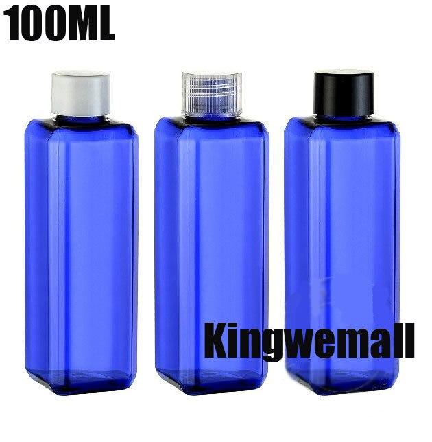 300 unids/lote 100 ml botella de PET botella cuadrada de plástico de hombro cosmético botella de la loción azul contenedor R20-100ml