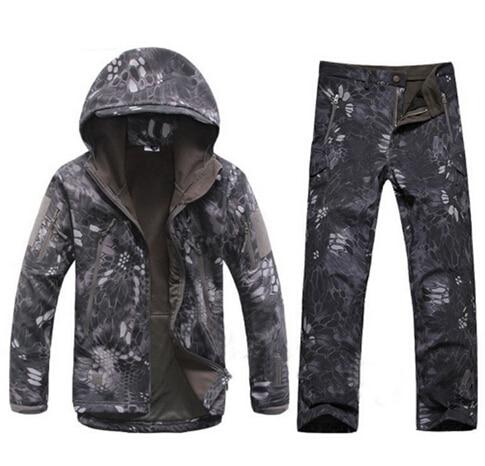 New Army Hiking Tactical Kryptek Black Shark Skin TAD 4.0 Jacket+Pants Uniform Men Waterproof Coat Sets Outdoor Hunting Clothing