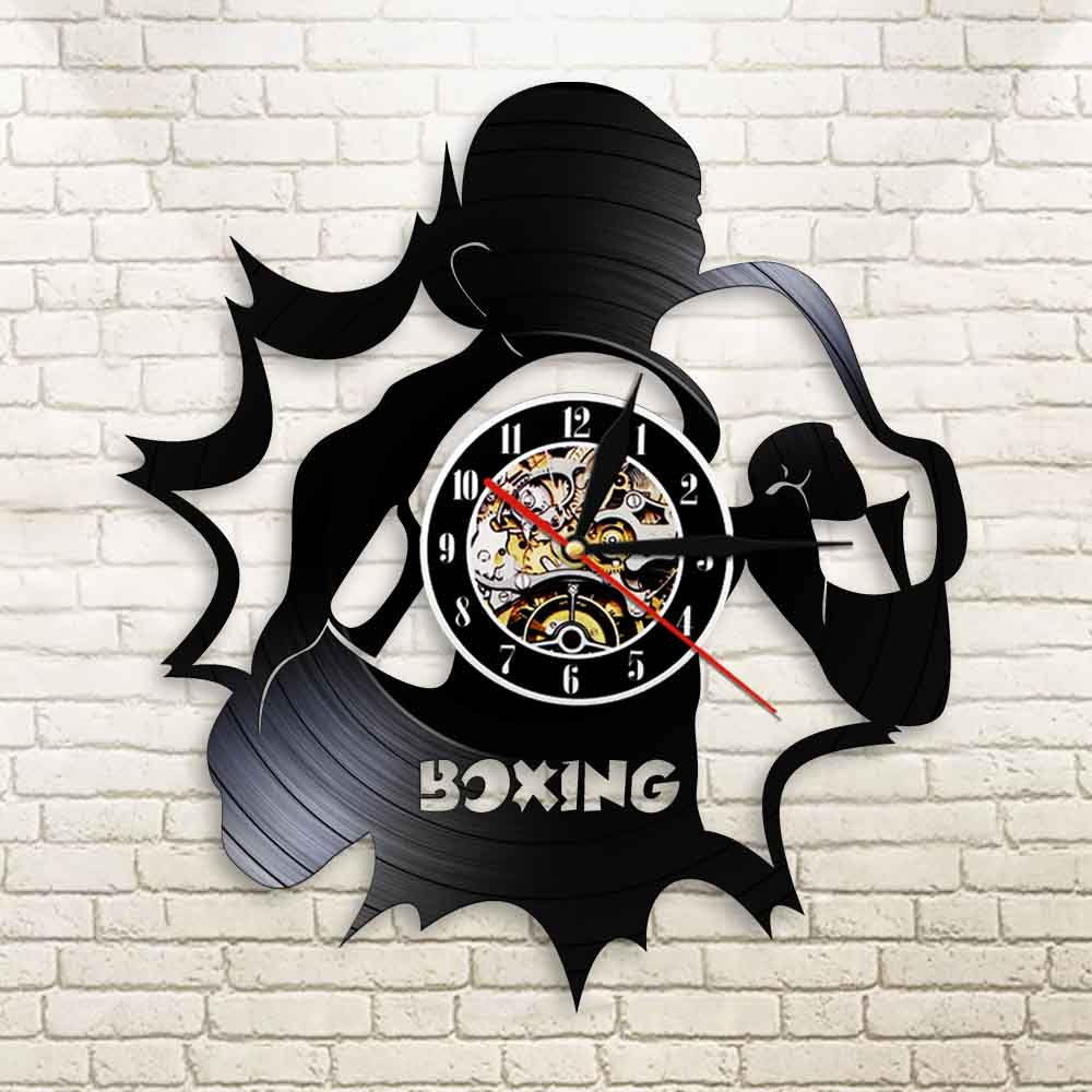 Boxeo vinilo LP disco Reloj de pared Boxer Arena lucha deportes pared artes Color cambiante luz de pared Scrappers Boxer regalos