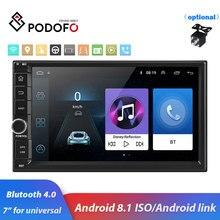 "Podofo 2din 7 ""HD araba radyo Android 8.1 araba multimedya oynatıcı GPS navi WIFI ISO Android Mirrorlink 2Din için evrensel araba stereo"