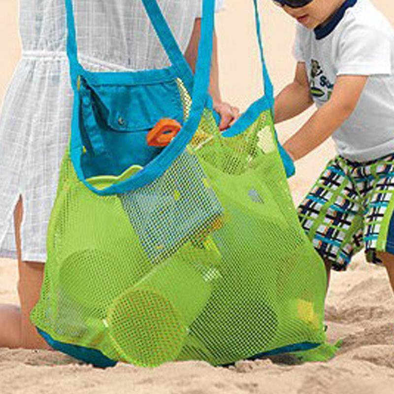 Bolsa de arena para llevar a los niños de SLPF, bolsa grande de malla, almacenamiento de juguetes para niños, colección de arena lejos de la playa, herramienta de malla G44