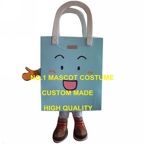 Bolso de compras azul para publicidad, disfraz de Mascota para niños, kit de vestido elegante para mascota de Carnaval 1963