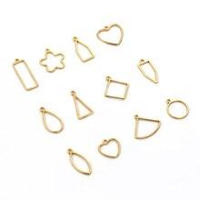 10 Uds. Corazón cuadrado gota de agua colgante encanto Epoxy Metal molde para la fabricación de joyas Fabricación de collares y pulseras accesorios al por mayor