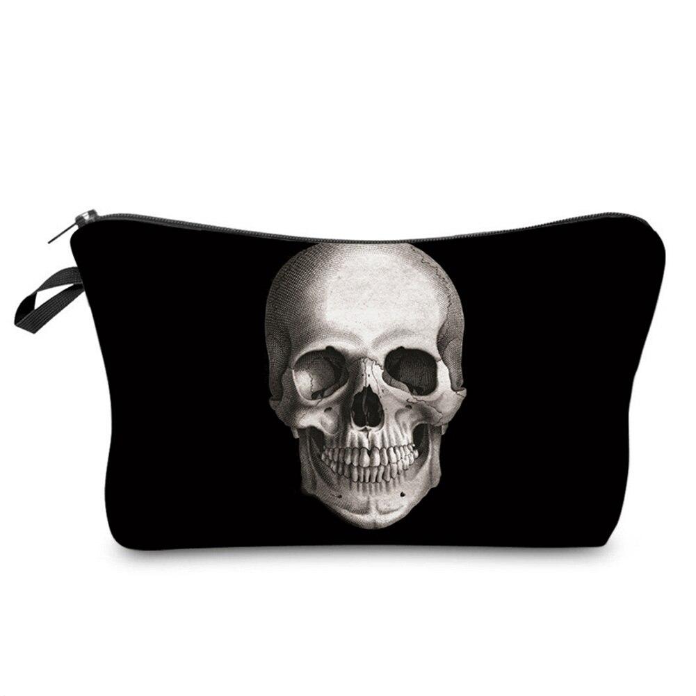 Cool Zipped Skeleton Skull Printing Makeup organizador almacenamiento bolsas moda hombres mujeres viaje neceser bolsa Popular