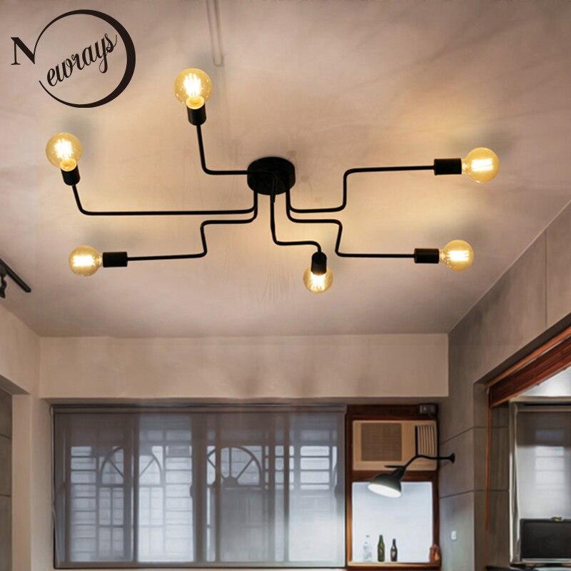 Moderna lámpara de techo industrial de hierro simple y creativa E27, luz de techo LED para dormitorio, sala, cocina, estudio, bar de hotel