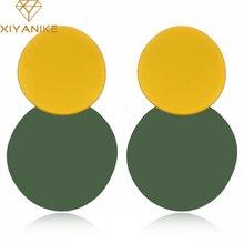 XIYANIKE 5 couleurs nouvelle mode deux rondes en métal peinture unevengoujon boucles doreilles pour les femmes élégant fête déclaration accessoires cadeau E1099