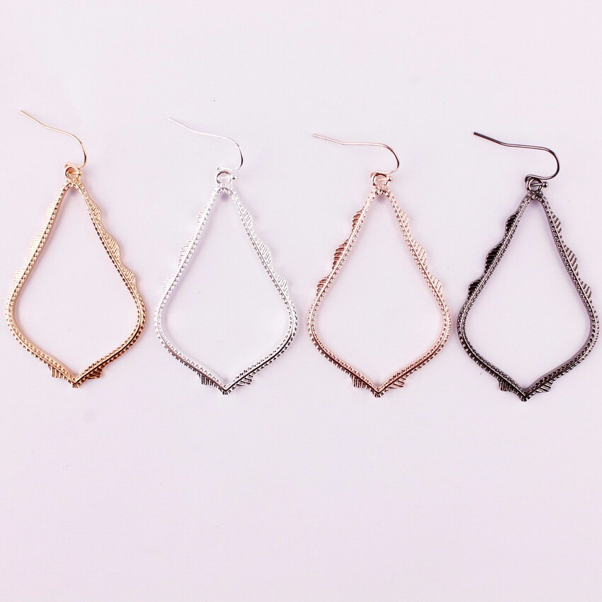Middle Size 1.37*2.45 inches Cut-Out Teardrop Dangle Drop Earrings for Women