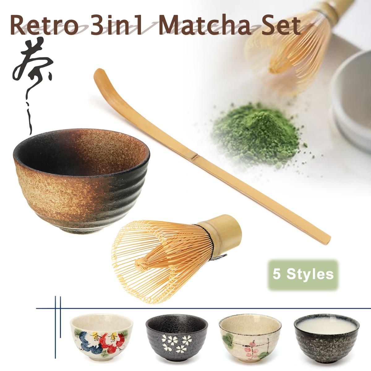 Conjunto de Ferramentas de Chá para Cozinha Batedor de Matcha Vasilha de Chá Matcha em Casa 3 em 1 de Bambu Conjunto Retrô Chasen Chashaku Acessórios