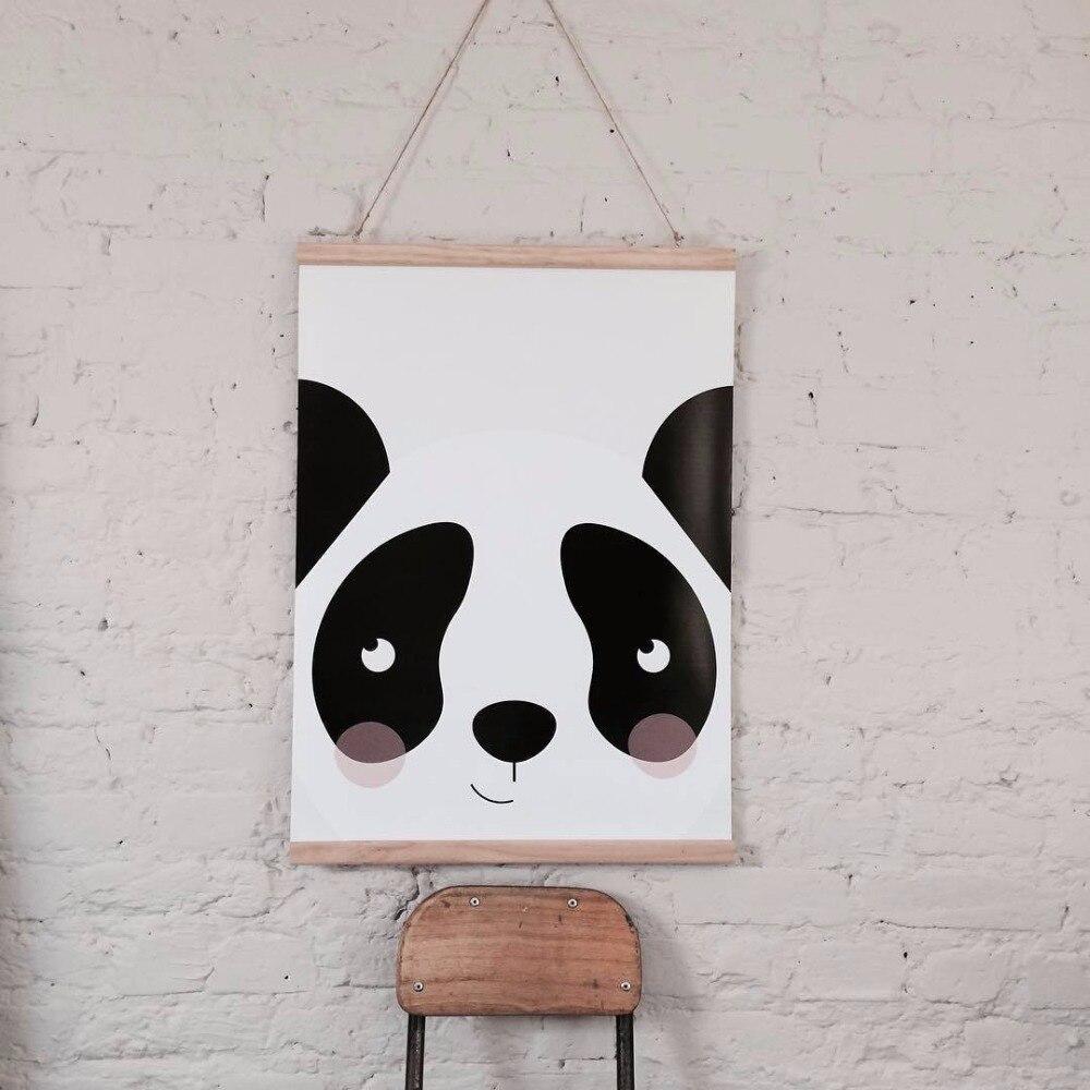 D póster de lona decorativo para habitación de niños y bebés de estilo nórdico con marco de madera, dibujo animado, pintura genial, Arte de la pared Decoración para colgar en la pared