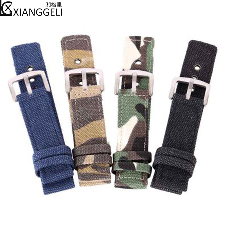 Watch accessories for field sports canvas camouflage flat straps 18mm 20mm 22mm 24 mm sports bracele