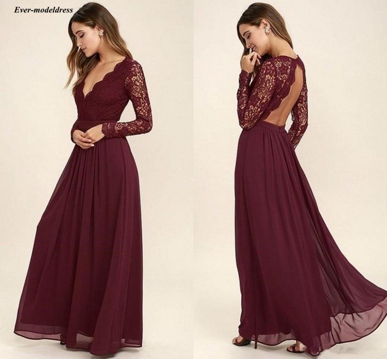 Borgonha renda vestidos de dama de honra 2020 sexy aberto de volta v-neck a linha longo casamento vestidos de festa de hóspedes chiffon vestidos de dama de honra
