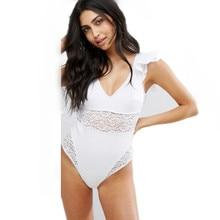 Nouveau femmes Vintage Sexy à volants une pièce maillot de bain blanc Cap maillots de bain en dentelle licou maillot de bain évider dos nu Monokini