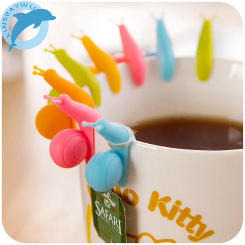 Linsbaywu 5 pçs bonito caracol forma silicone saco de chá titular copo caneca doces cores presente conjunto boa cor aleatória
