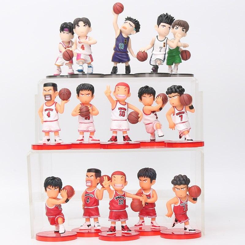 8cm 5 unids/set Slam Dunk figuras de acción animé japonés juguetes de baloncesto Sakuragi Hanamichi figura PVC dibujo animado chico regalo
