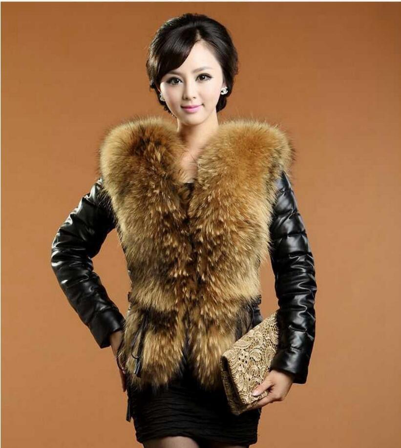 2017 new imitation fur coat imitation raccoon fur collar fashion Fur & Faux Fur long sleeve sizeS-3XL