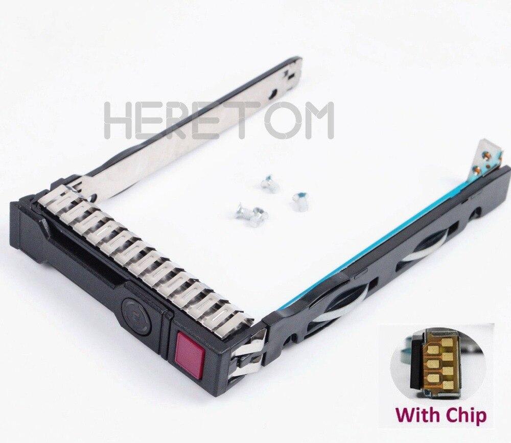 2.5'' SAS SATA HDD Caddy Bracket 651687-001 for HP G8 Gen8 Gen9 G9 DL380 DL360 DL160 DL385 2.5inch Server Tray With Chip