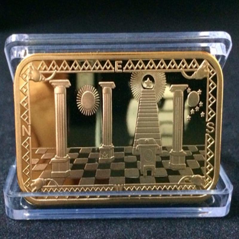 2 uds. Barra de lingote Mason, 1 OZ, masón lingote de chapado en oro, barras coleccionables de 50 mm x 28 mm con diferentes números de serie