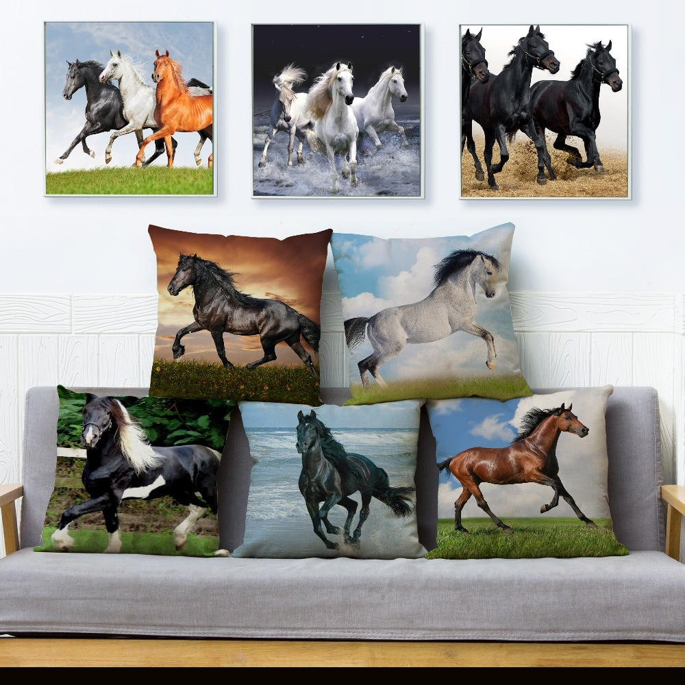 Funda de almohada con estampado de caballo corriendo, 45x45cm, Fundas de cojín cuadradas de lino Fundas de almohadas, funda de almohada con decoración de animales para sofá o hogar