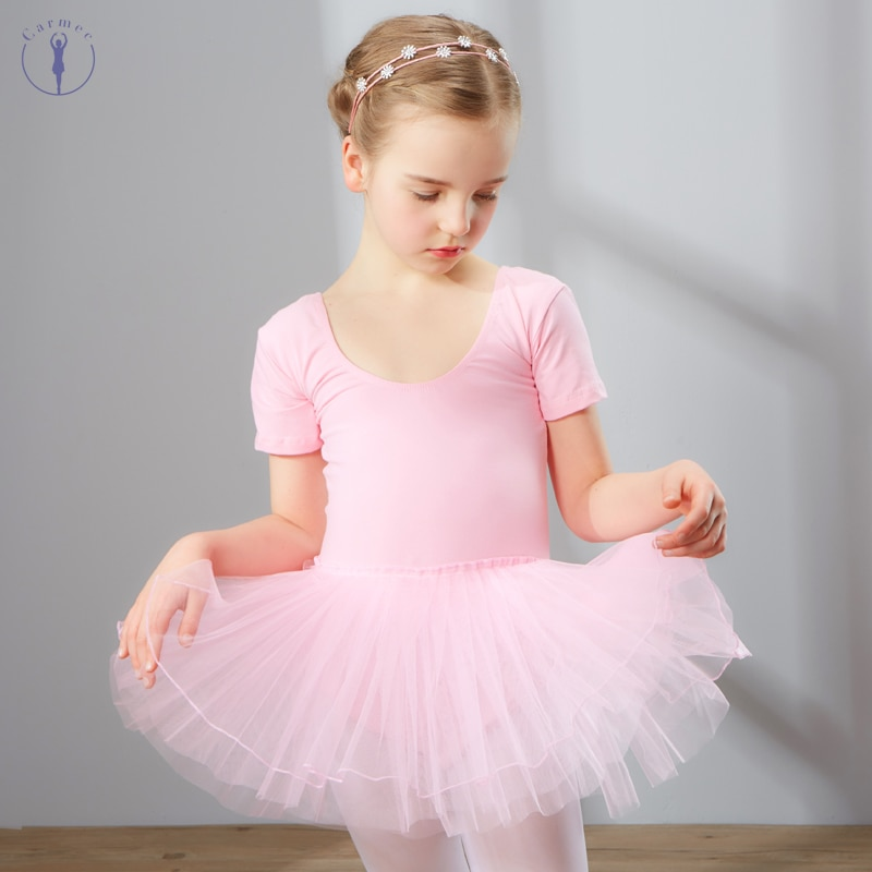 Combed Cotton Ballet Dress Dance Dress Tutu Dress for Girls Kids Children High Quality Short Sleeves Tulle Dance Wear