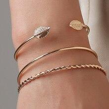 Doreen caja Simple Color oro estilo Punk espiral diseño planta hoja torsión brazalete pulsera brazaletes femeninos joyería de moda, 3 unids/set